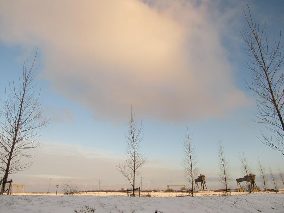 Vanmorgen tijdens zonsopkomst, winterplaatje