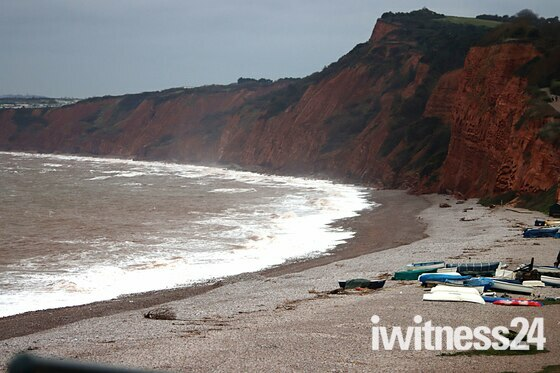 Stormy Beach/ Seas at  Budleigh