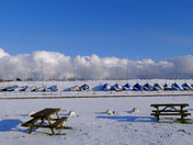 Sun and snow at Felixstowe :)