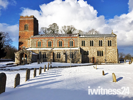 St. Mary's and St. Margaret's church Sprowston in the snow.