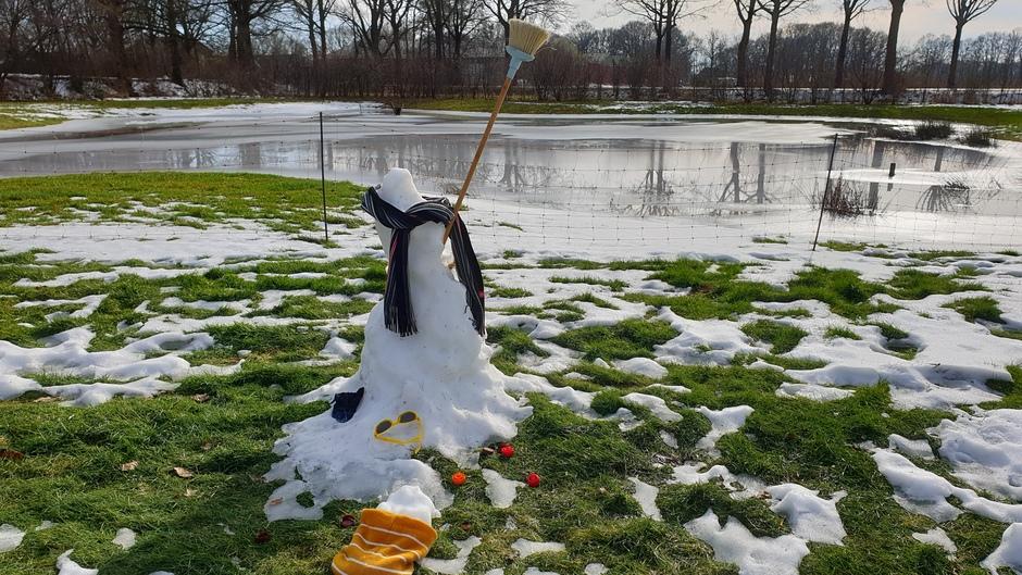 Sneeuwman in problemen.