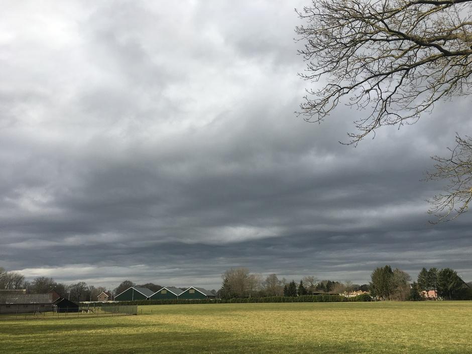 Undulaties asperitas wolken boven Drenthe vanmiddag