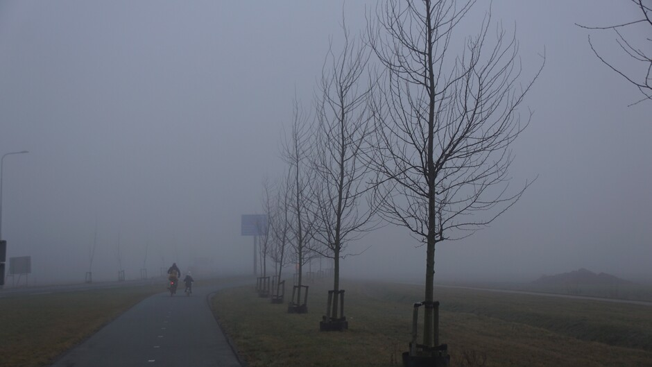 grijs en mistig 3 gr op de fiets naar school