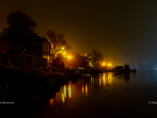 A misty & atmospheric view of the river Yare/Riverside Road in Gorleston-On-Sea