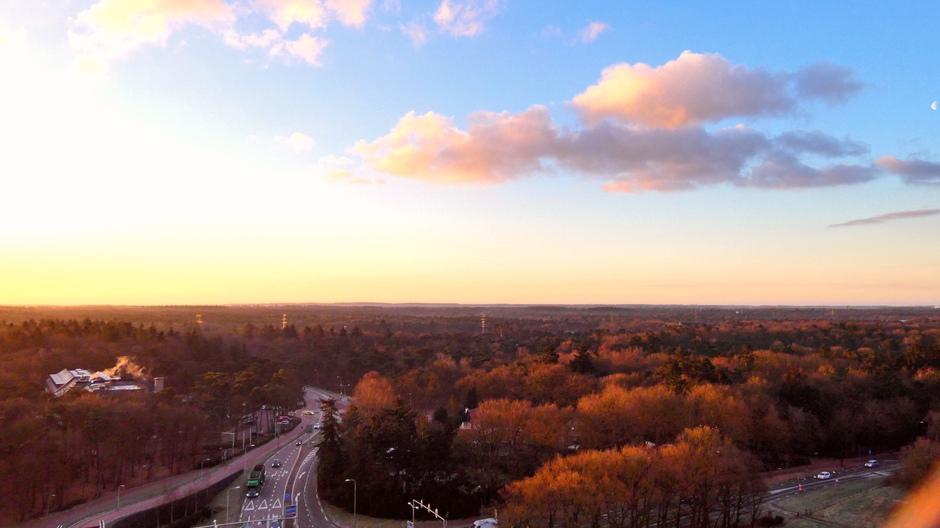 Veluwe vanmorgen vroeg foto genomen vanaf de Toekan toren Harderwijk