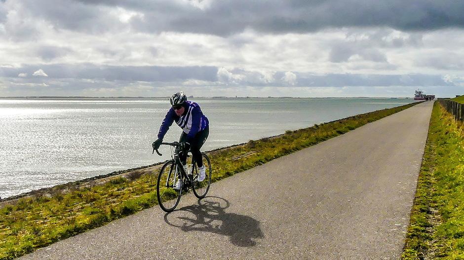 Zon winderig racefietsen