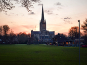 Norwich Cathedral during sunset