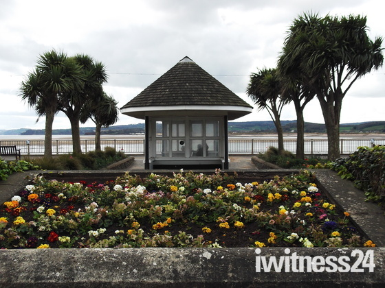 """Exmouth sea-front flower bed opposite """"Ocean Bowl & Grill""""."""