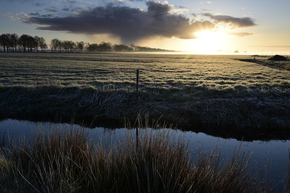 Mist en wolk bij zonsopkomst.
