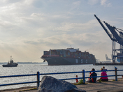 MSC Istanbul arrriving in Felixstowe Docks