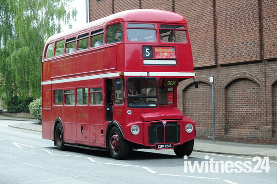 Routemaster bus in london transport colours