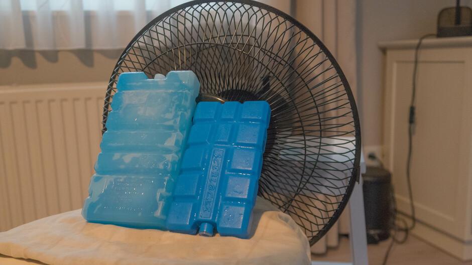 koelelementen voor de ventilator, enige verkoeling  komende nachten