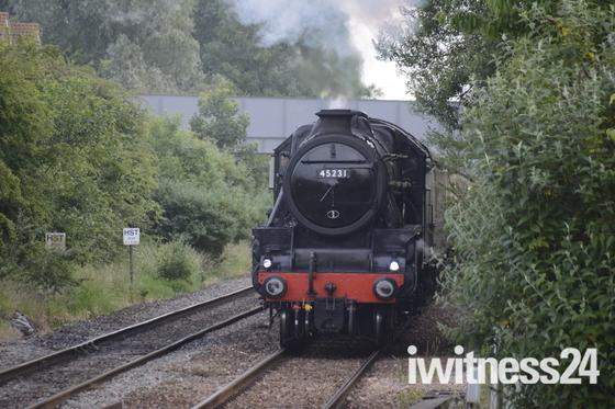 Steam train passing through Worle