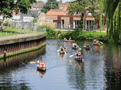 Canoeists enjoying the sun
