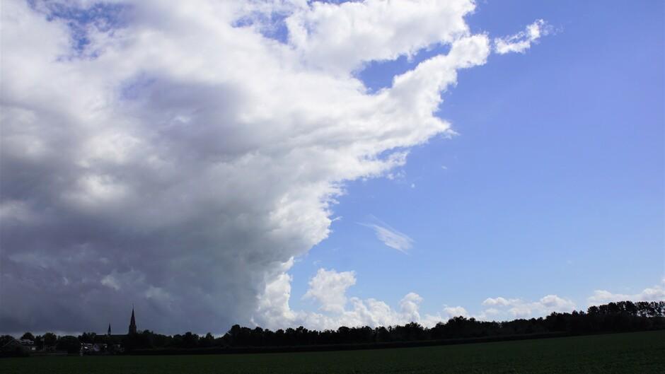 na regen bui van 1,5 mm  zon en scheiding wolken en blauwe lucht 19 gr