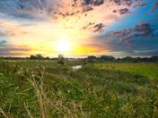 Sun glow across the marsh