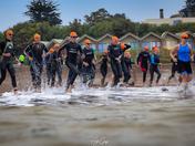 Triathlon Swimmers Ready to hit the Sea - Exmouth Open Water Triathlon