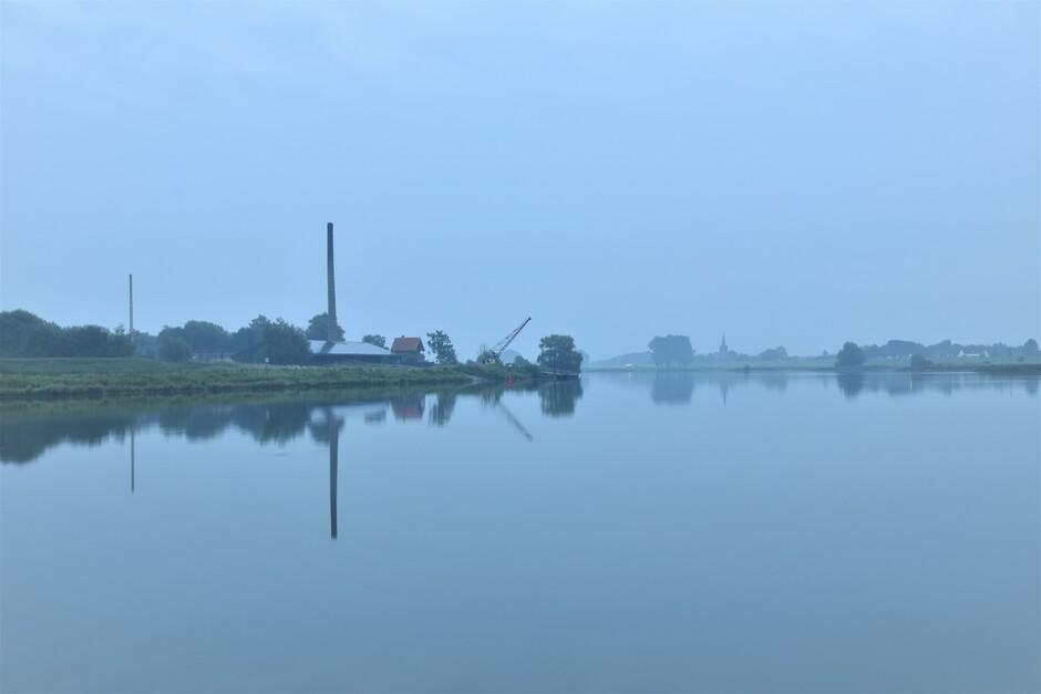 Grijs en wat mist vanmorgen vroeg
