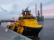 Supply vessel at Great Yarmouth Outer Harbour …