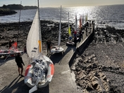 Clevedon Sailing Club. Sunday Race. Dinghies on the Jetty.