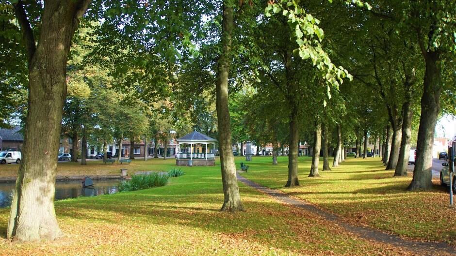 zonnig blauwelucht en sluier bewolking 14 gr op het plein met al wat herfstkleuren